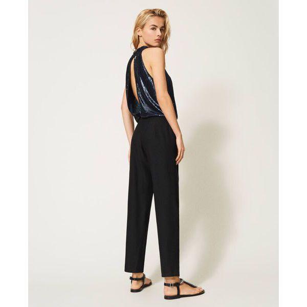5. Sequined jumpsuit Blue-black Twin Set