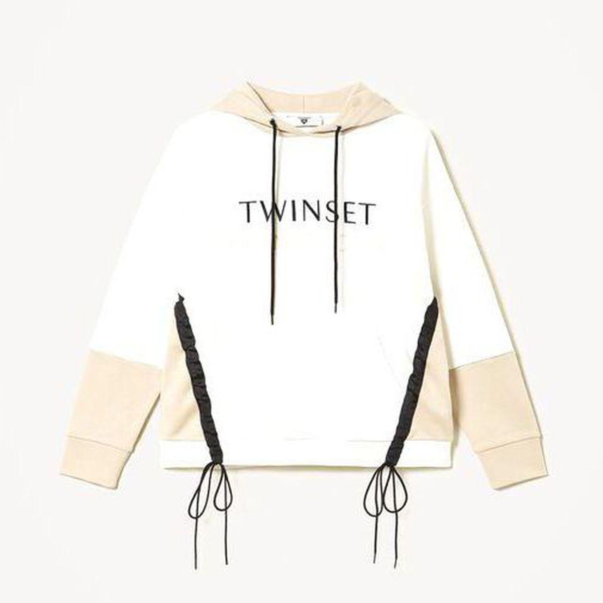 1. Two-tone sweatshirt Ivory-milkshake Twin Set