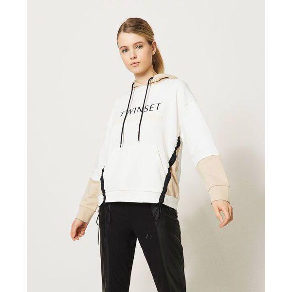 2. Two-tone sweatshirt Ivory-milkshake Twin Set