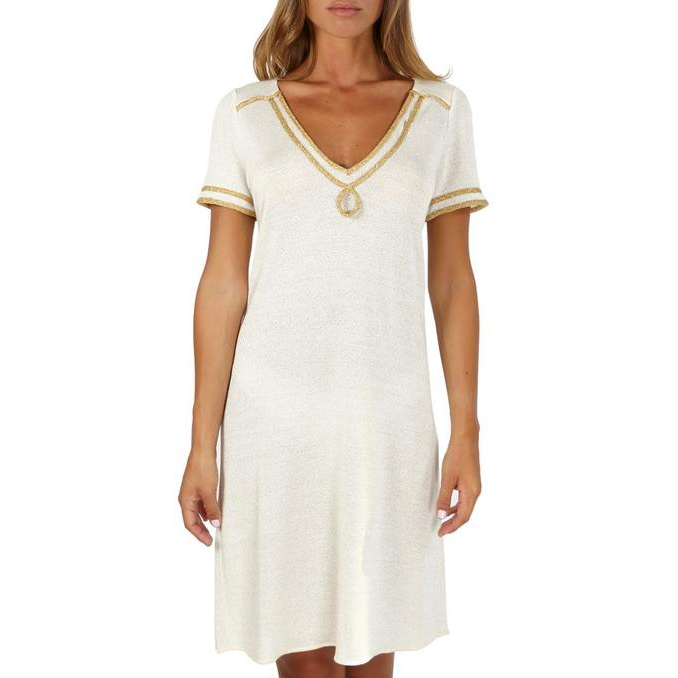 SHORT DRESS WITH DEEP V-NECK MILITARY NAVY White Pin Up