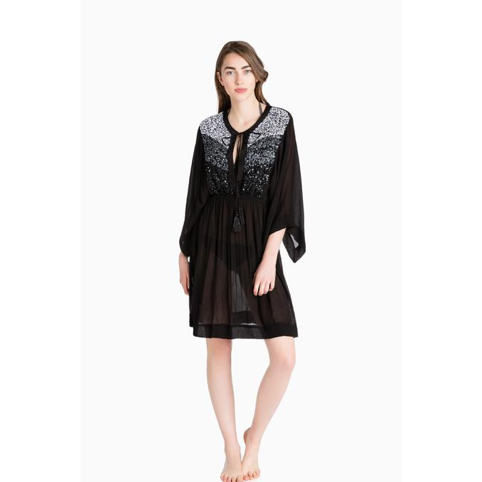 SHORT KAFTAN EMBROIDERY Black Twin Set
