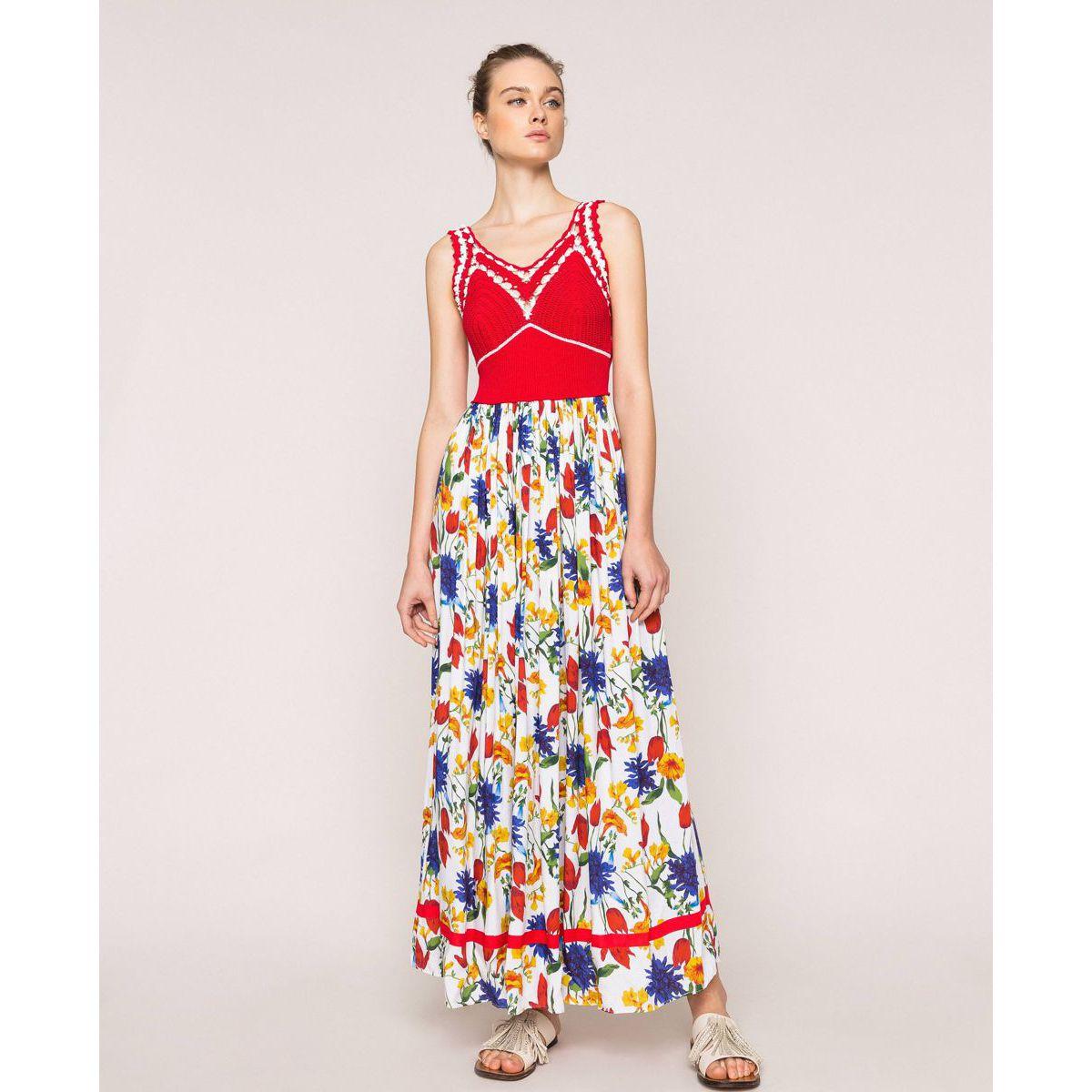 Long crochet dress White-red Twin Set