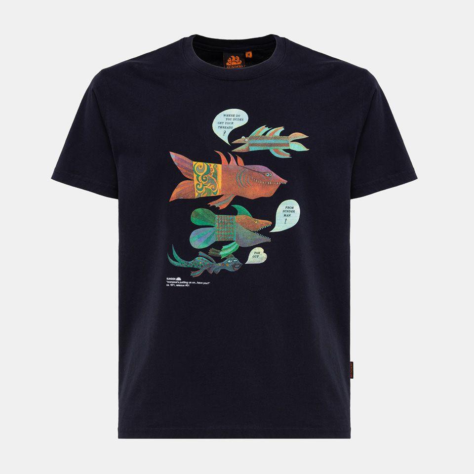 Fish t-shirt Blue Sundek