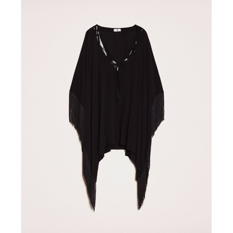 Fringed poncho Black Twin Set