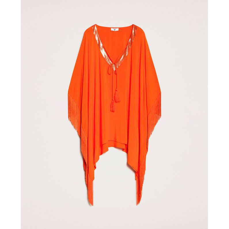 Fringed poncho Orange Twin Set