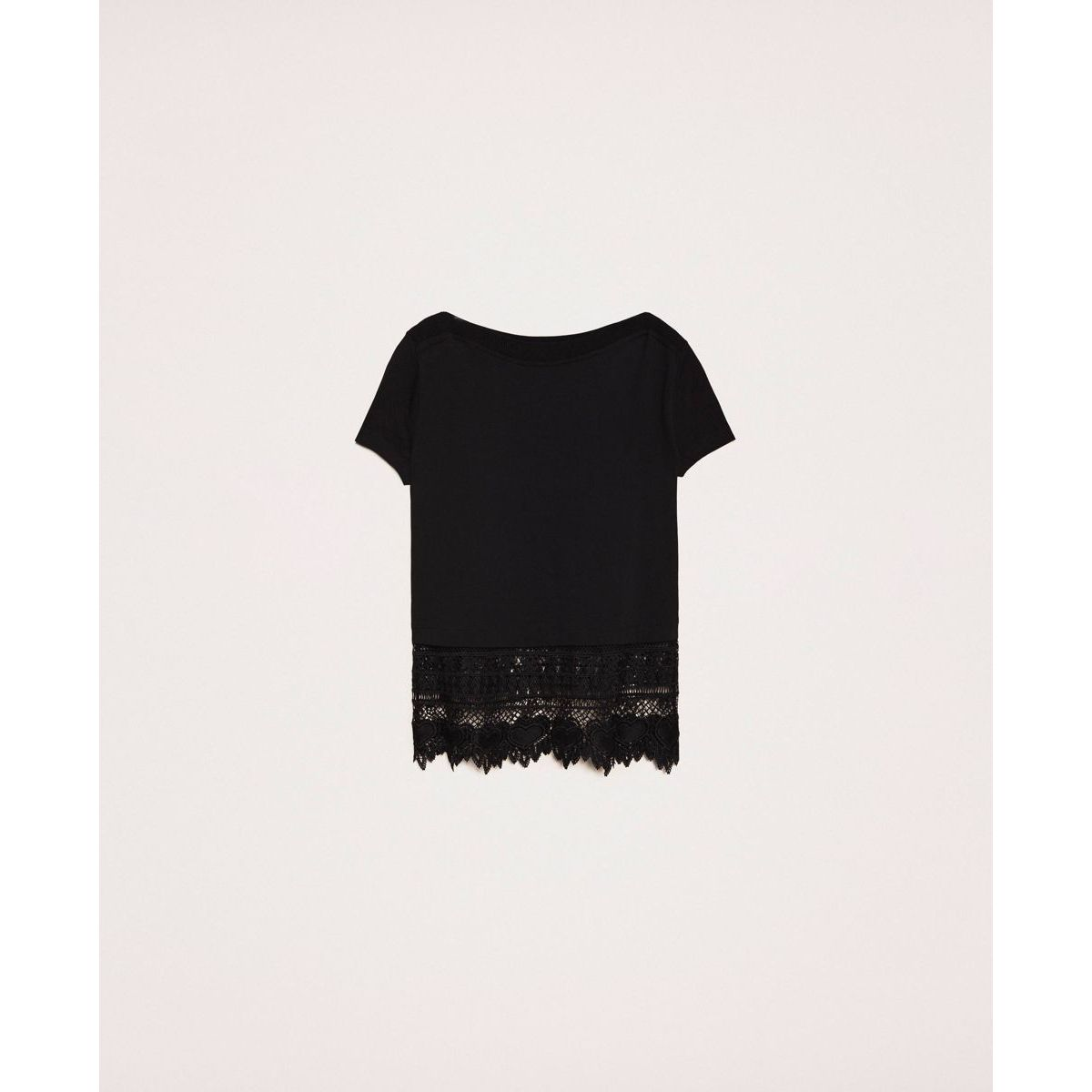 Macramé maxi t-shirt Black Twin Set