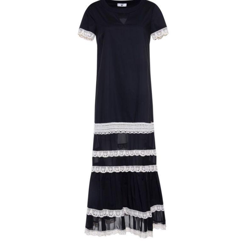 Long georgette dress Black Twin Set