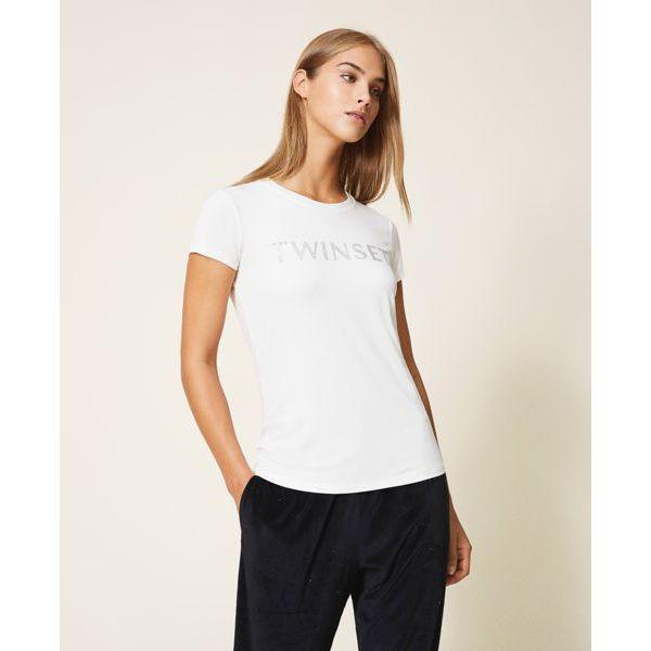 Strass t-shirt Ivory Twin Set