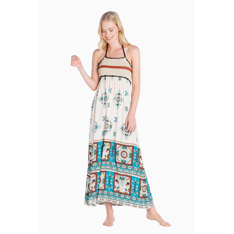 PRINT DRESS Portofino Blue / Cream Twin Set