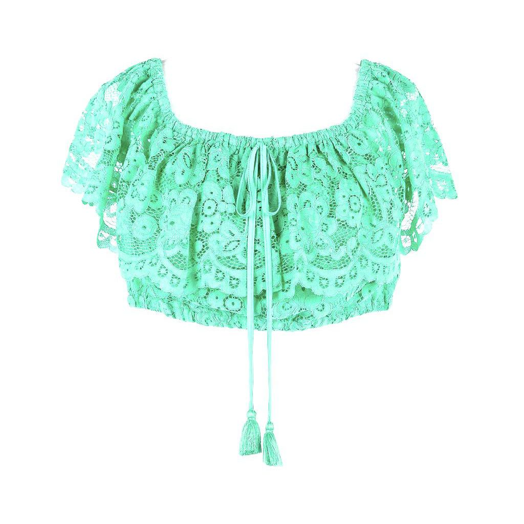 1. Macramé top Mint green Twin Set