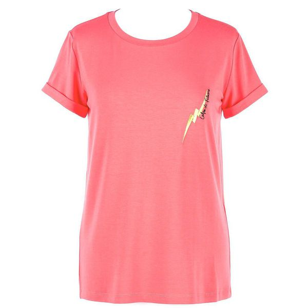 1. Embroidery T-shirt Cherry pink Twin Set