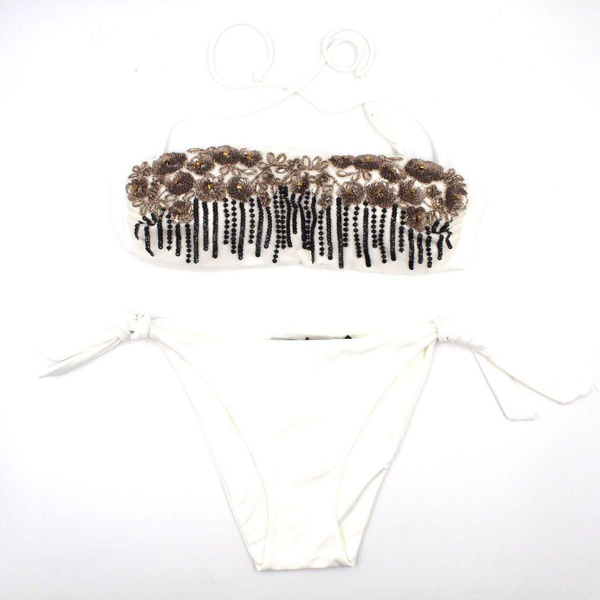 1. Floral bandeau bikini Ivory Twin Set